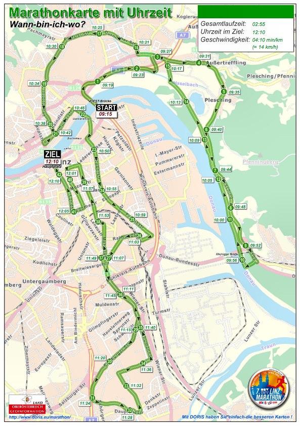 Linz Marathon-Strecke Uhrzeit